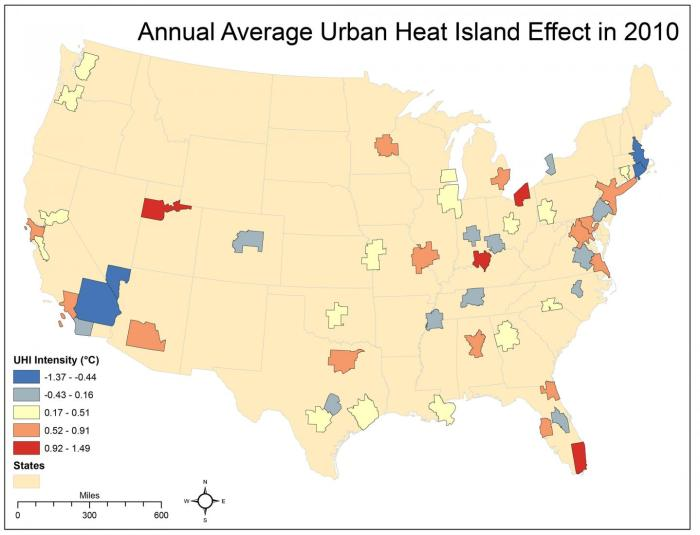 This graphic shows the annual average urban heat island effect in 2010. CREDIT University of Georgia