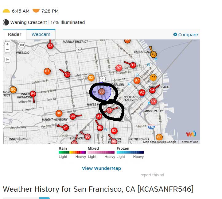 i left my uhi in sannn frannncisco watts up with that the disparity of temperature just a few blocks away is quite stunning in the two temperatures circled in the downtown area yesterday there is a full 14f gumiabroncs Gallery