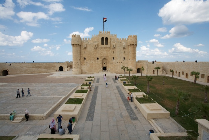 The Front of Citadel Qaitbay, from the wall above the entrance, by Carsten Whimster. Source Wikimedia.