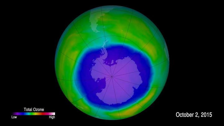 This false-color image shows ozone concentrations above Antarctica on Oct. 2, 2015. Credits: NASA/Goddard Space Flight Center
