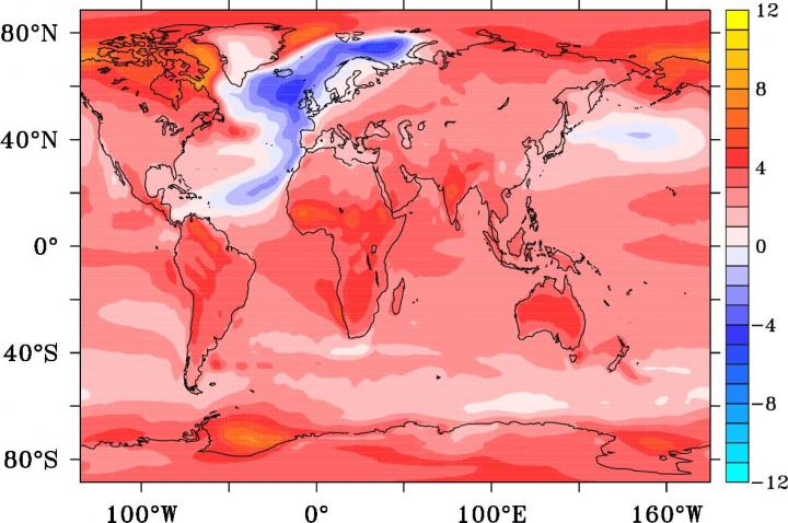 This is a temperature anomaly in degrees Celsius after 95 years from the onset of an AMOC collapse. CREDIT University of Southampton