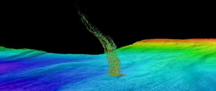 Sonar image of bubbles rising from the seafloor off the Washington coast. The base of the column is 1/3 of a mile (515 meters) deep and the top of the plume is at 1/10 of a mile (180 meters) depth. CREDIT Brendan Philip/University of Washington