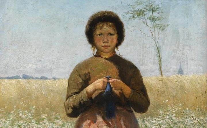 A peasant girl in a field of flowers 1886 - https://commons.wikimedia.org/wiki/File:A_peasant_girl_in_a_field_of_flowers_by_David_de_la_Mar_(1832-1898).jpg