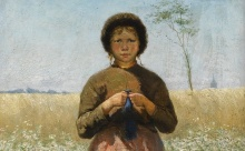 A peasant girl in a field of flowers 1886 - https://commons.wikimedia.org/wiki/File:A_peasant_girl_in_a_field_of_flowers_by_David_de_la_Mar_(1832-1898).jpg