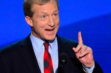 Tom Steyer, co-founder of Advanced Energy Economy, speaks to the delegates on the second night of the 2012 Democratic National Convention at Time Warner Cable Arena, Wednesday, September 5, 2012 in Charlotte, North Carolina. (Harry E. Walker/MCT via Getty Images)