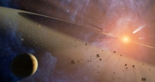 Artist's impression of double asteroid belt at Epsilon Eridani, source NASA JPL.