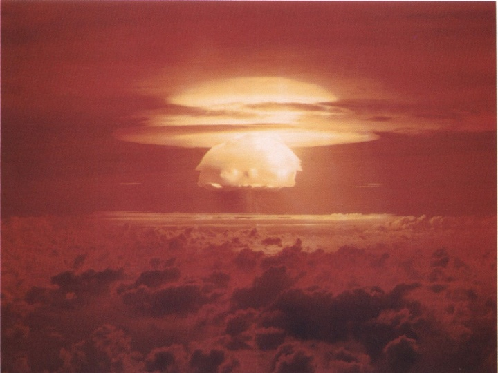 Castle Bravo Nuclear Bomb test at Bikini Atoll. Public domain image, source Wikimedia
