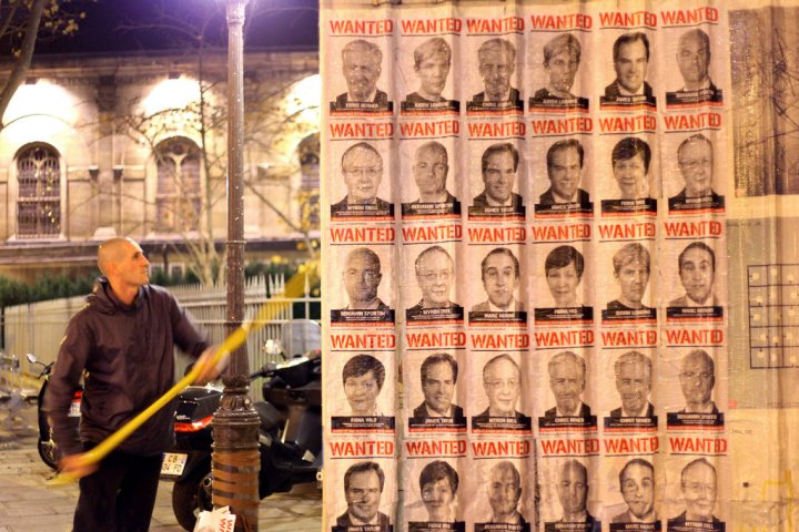 """The """"Wanted""""-style posters went up in Paris late on Sunday. Credit Avaaz"""