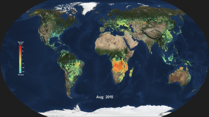 Shown here is the monthly average of global burned area for August 2015, produced from data from the Moderate Resolution Imaging Spectroradiometer (MODIS) aboard NASA's Aqua satellite. Light blue indicates a small percentage of burned area, while red and orange indicate high percentages of burned area. Credits: NASA