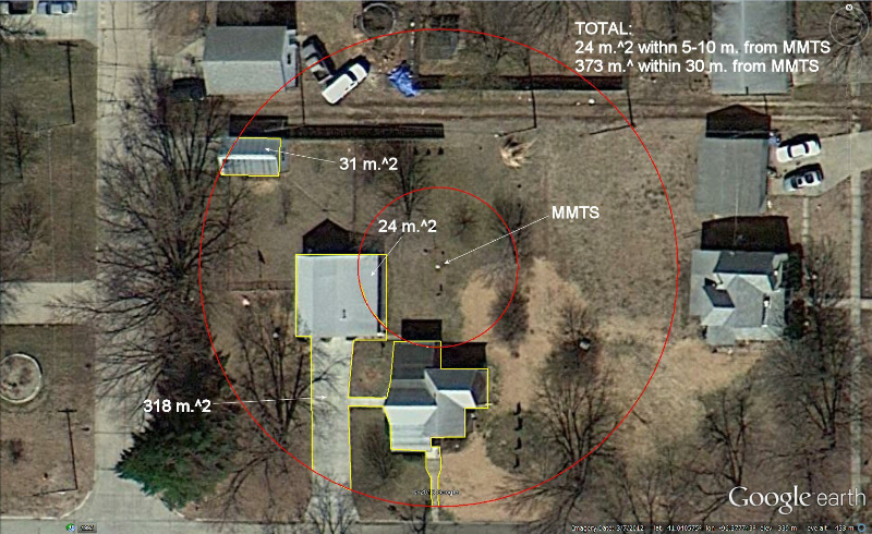 Figure 2 - Analysis of artificial surface areas within 10 and 30 meter radii at Ashland, NE USHCN station (COOP# 250375) using Google Earth tools. The NOAA temperature sensor is labeled as MMTS.