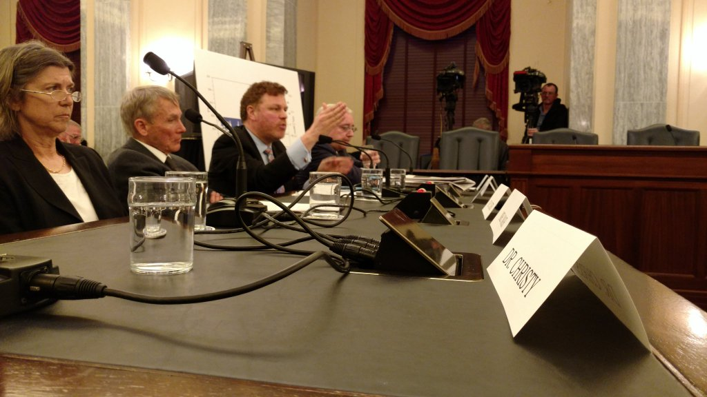 L-R Dr. Judith Curry, Dr. Will Happer, and Mark Steyn at Senate hearing today. Photo: Dr. John Christy