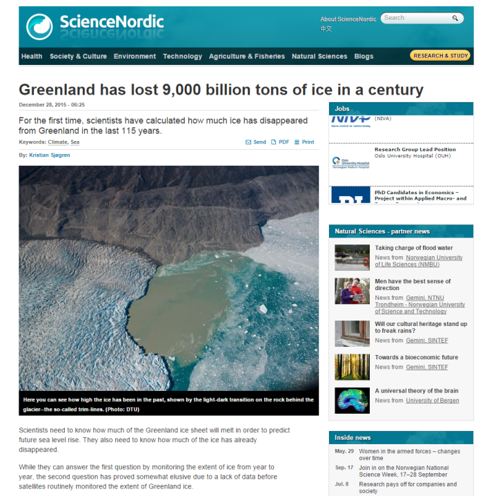 Greenland retained 99 7% of its ice mass in 20th Century