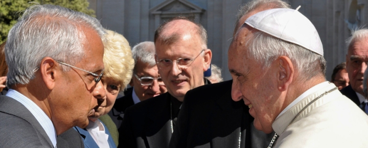 Scripps Institution of Oceanography, UC San Diego Climate and Atmospheric Scientist Veerabhadran Ramanathan and other researchers meet with Pope Francis after a joint workshop of the Pontifical Academy of Sciences and Pontifical Academy of Social Sciences held May 2-6, 2014 at the Vatican.