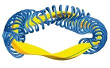 """W7X-Spulen Plasma blau gelb"" by Max-Planck Institut für Plasmaphysik - Max-Planck Institut für Plasmaphysik. Licensed under CC BY 3.0 via Commons - https://commons.wikimedia.org/wiki/File:W7X-Spulen_Plasma_blau_gelb.jpg#/media/File:W7X-Spulen_Plasma_blau_gelb.jpg"