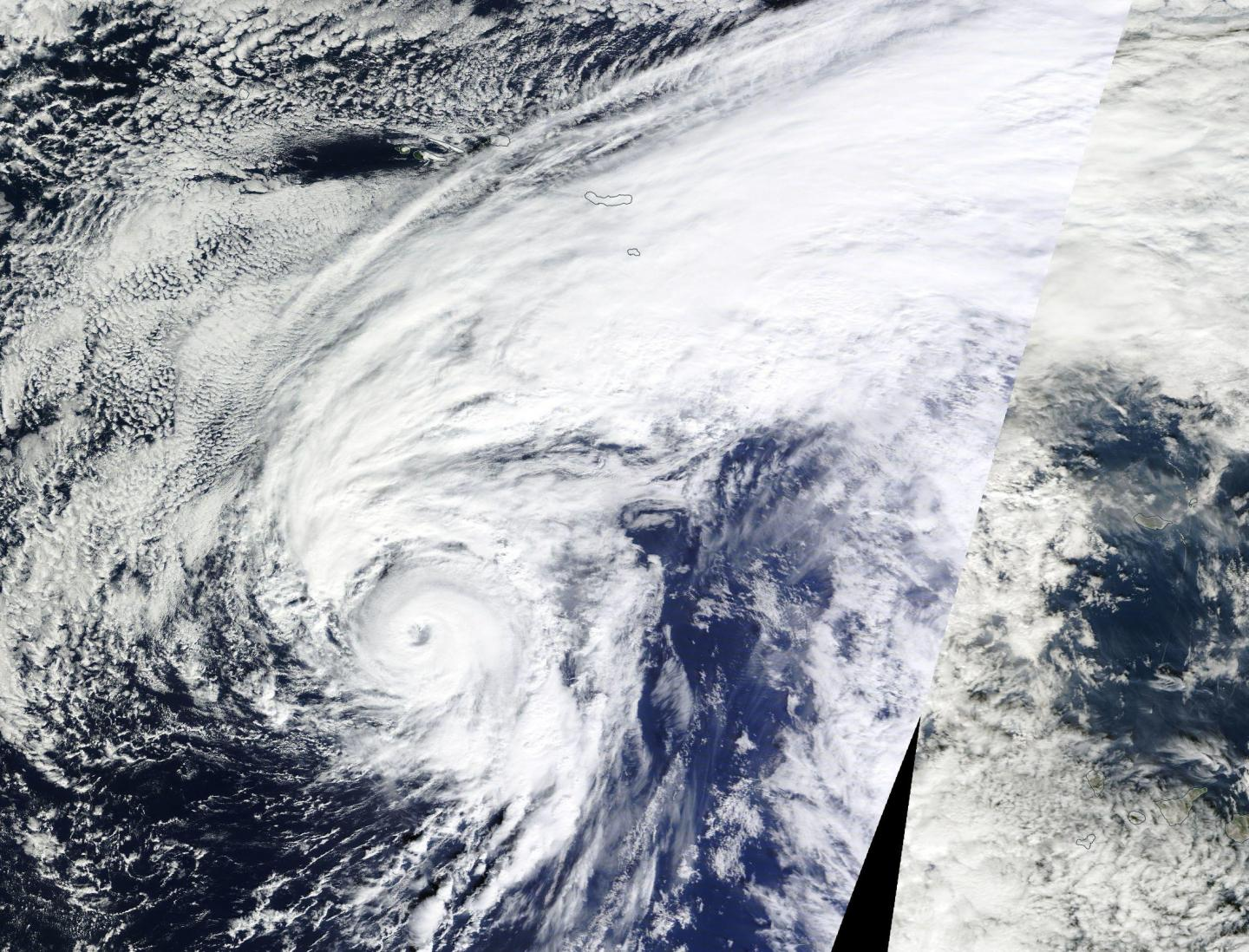 Hurricane Alex on Jan. 14 at 15:30 UTC (10:30 a.m. EST) in the central Atlantic Ocean. The image revealed an eye and showed bands of thunderstorms spiraling into the low level center of circulation. Credit: NASA Goddard MODIS Rapid Response