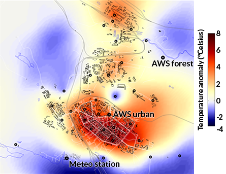 THE HEAT IS ON Even during the polar night, the center of Apatity is warmer (red) than the outskirts of the Russian city. AWS urban is the weather station in the town center