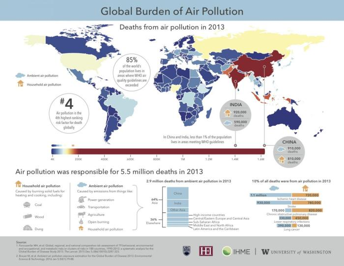New research shows that more than 5.5 million people die prematurely every year due to household and outdoor air pollution. More than half of deaths occur in two of the world's fastest growing economies, China and India. CREDIT Institute for Health Metrics and Evaluation (IHME), University of Washington