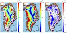 Greenland's average ice speed over the last nine thousand years (left), its current speed (center) and the difference between them (right). Blues (negative values) signify lower speeds today as compared to the nine-thousand-year average. CREDIT Joseph A. MacGregor