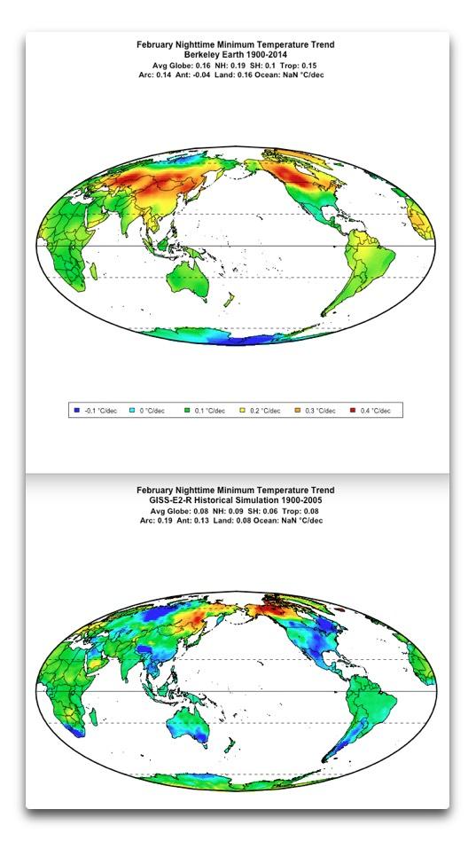 minimum temps berkeley earth and giss feb