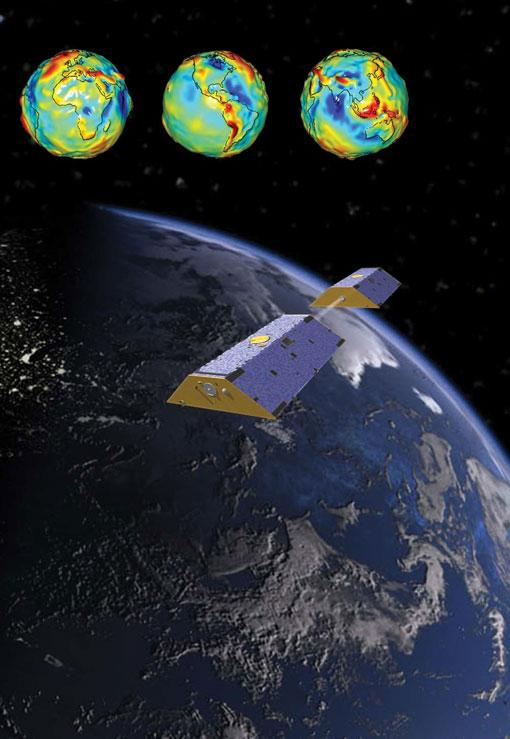 """An artist's depiction of the NASA GRACE satellites and the Earth's gravity field. This material relates to a paper that appeared in the Feb. 12, 2016 issue of Science, published by AAAS. The paper, by J.T. Reager at Jet Propulsion Laboratory in Pasadena, CA, and colleagues was titled, """"A decade of sea level rise slowed by climate-driven hydrology."""""""