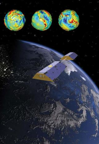 "An artist's depiction of the NASA GRACE satellites and the Earth's gravity field. This material relates to a paper that appeared in the Feb. 12, 2016 issue of Science, published by AAAS. The paper, by J.T. Reager at Jet Propulsion Laboratory in Pasadena, CA, and colleagues was titled, ""A decade of sea level rise slowed by climate-driven hydrology."""