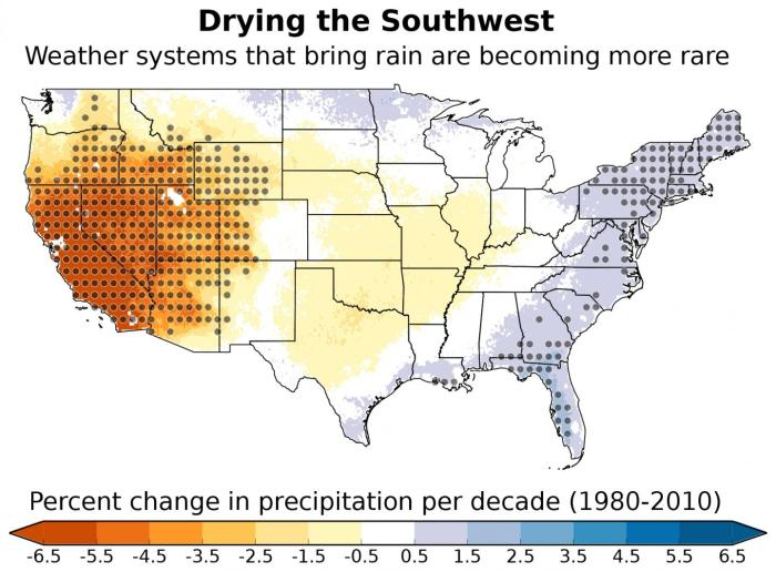 Weather systems that typically bring moisture to the southwestern United States are forming less often, resulting in a drier climate across the region. This map depicts the portion of overall changes in precipitation across the United States that can be attributed to these changes in weather system frequency. The gray dots represent areas where the results are statistically significant. Map courtesy of Andreas Prein, NCAR. CREDIT Map courtesy of Andreas Prein, NCAR.