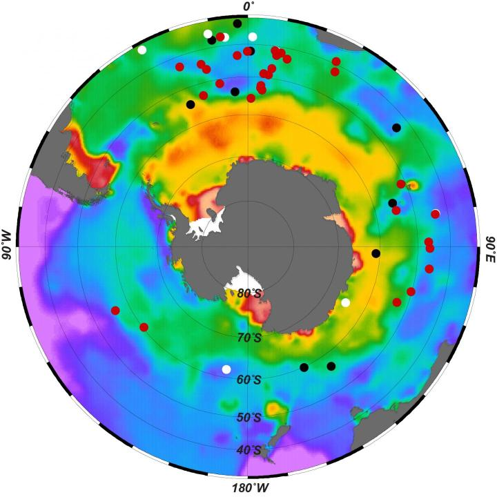 Researchers have found that bottom waters of the Southern Ocean had very low levels of oxygen during the last ice age, indicating high uptake of carbon. Here, dissolved Southern Ocean bottom-water oxygen in modern times. Brighter colors indicate more oxygen; dots show sites where researchers sampled sediments to measure past oxygen levels. CREDIT Jaccard et al., Nature 2016