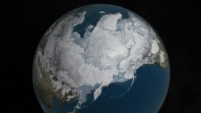 Arctic sea ice was at a record low wintertime maximum extent for the second straight year. At 5.607 million square miles, it is the lowest maximum extent in the satellite record, and 431,000 square miles below the 1981 to 2010 average maximum extent. CREDIT Credits: NASA Goddard's Scientific Visualization Studio/C. Starr
