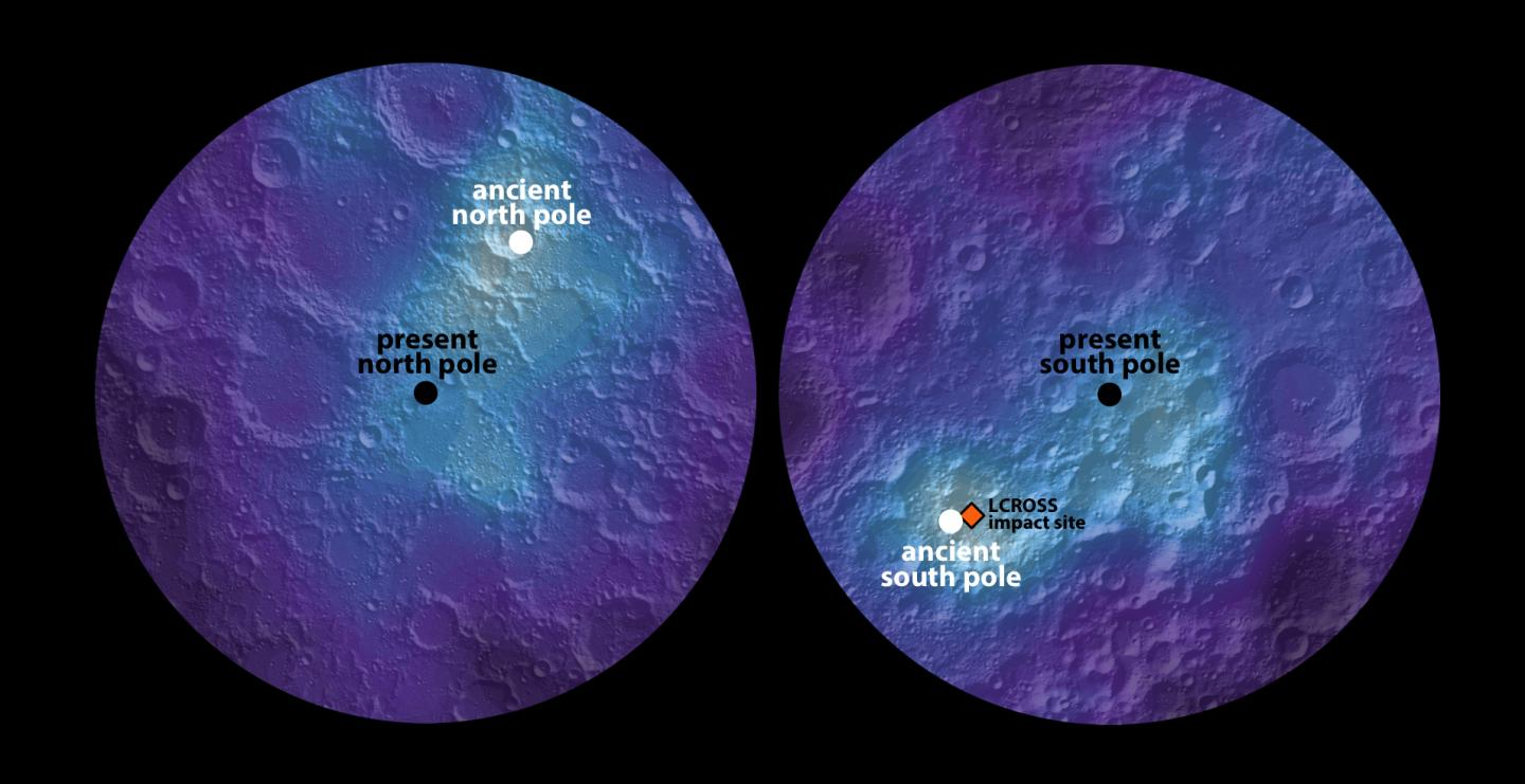 A new study published today in Nature reports Earth's moon wandered off its original axis roughly 3 billion years ago. Ancient lunar ice indicates the moon's axis slowly shifted location 125 miles, or 6 degrees, over 1 billion years. CREDIT (James Keane, U. of Arizona)
