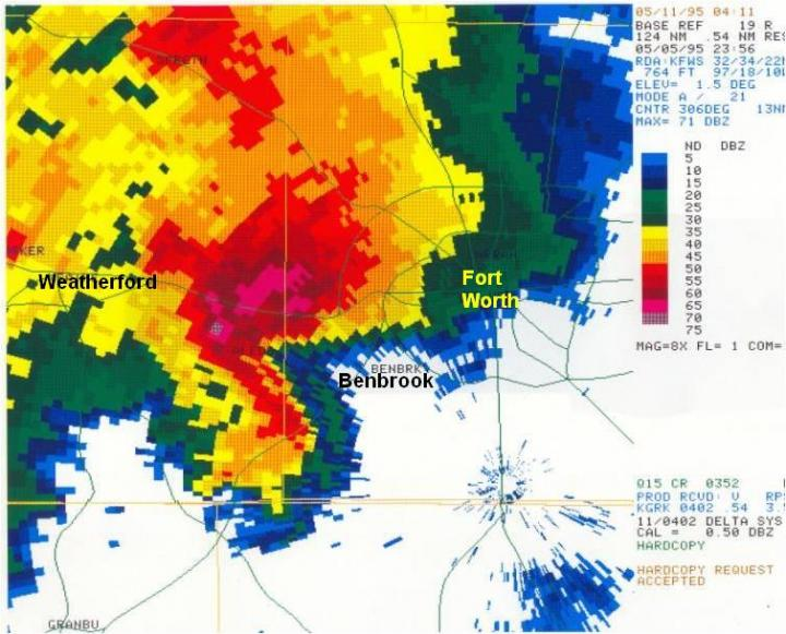 Radar imagery from 6:56 p.m. shows a close-up of the Mayfest supercell centered west of Benbrook, Texas. The pink and darkest red colors represent radar indications of large hail with this storm. The storm impacted the Mayfest festival at 7:10 p.m. CREDIT National Weather Service