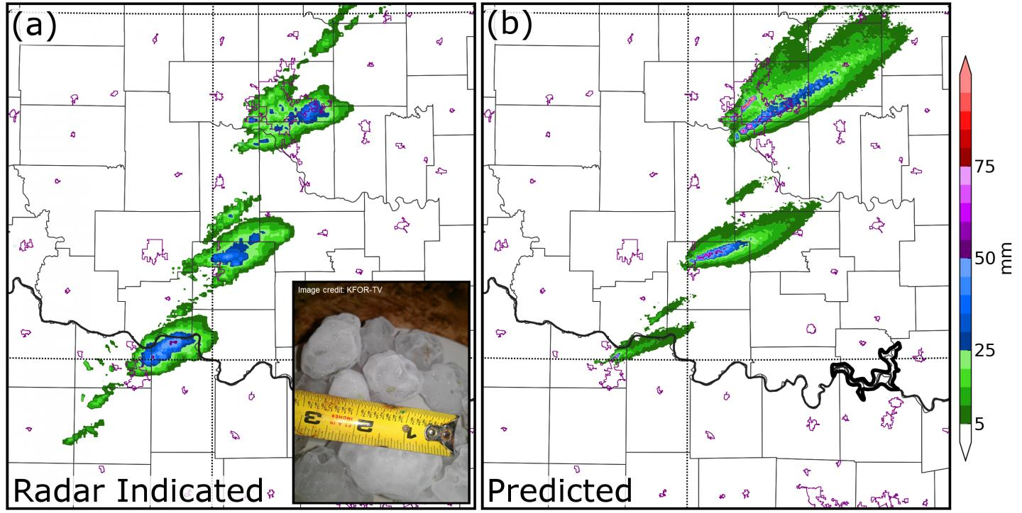 This image show radar-indicated swaths of hail from the May 20, 2013 Oklahoma-Moore tornado in the left panel, and, in the right panel, swaths of hail predicted by the ensemble computer forecasts. CREDIT University of Oklahoma