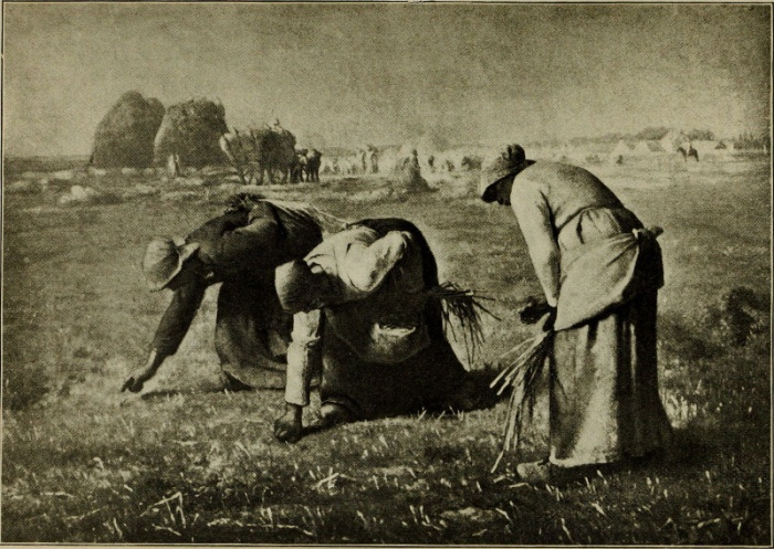 Women picking from the barren, stubble-field the scattering blades the reapers have left behind.