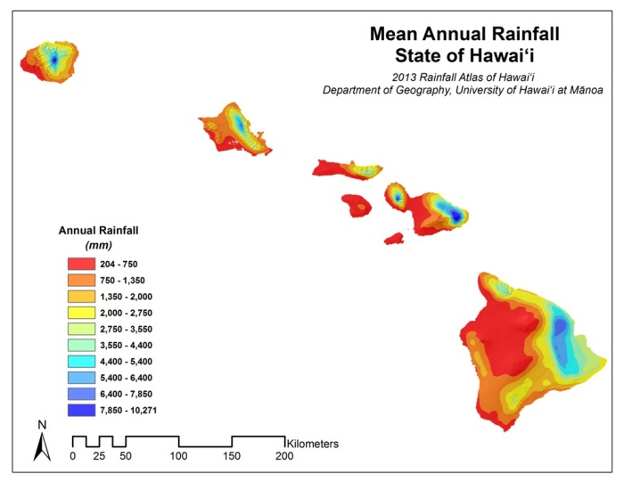 Orographic rainfall patterens of Hawaii