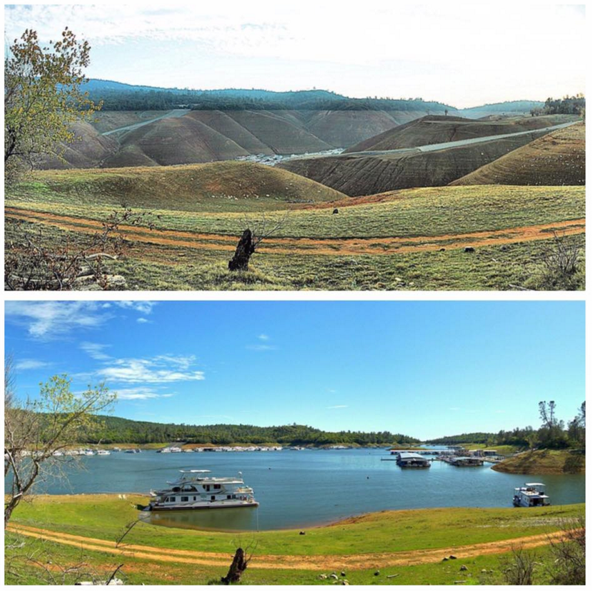 Lake Oroville's dramatic rise. Top picture is November 2014, bottom is now. Thanks to Hank Hansen for the pictures.