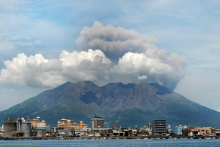 Kagoshima cityscape against the background of Sakurajima volcano. Japan, East Asia