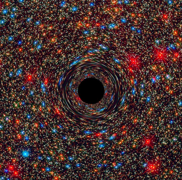 This computer-simulated image shows a supermassive black hole at the core of a galaxy. The black region in the center represents the black hole's event horizon, where no light can escape the massive object's gravitational grip. The black hole's powerful gravity distorts space around it like a funhouse mirror. Light from background stars is stretched and smeared as the stars skim by the black hole. CREDIT Credits: NASA, ESA, and D. Coe, J. Anderson, and R. van der Marel (STScI)