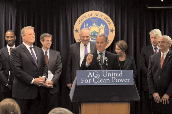 New York Attorney General Eric Schneiderman and a coalition of attorneys general, supported by former Vice President Al Gore, vowed on March 29, 2016, to hold fossil fuel companies accountable if their words and deeds on climate change had crossed into illegality.