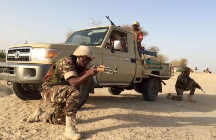 Nigerian soldiers demonstrate combat techniques for use against Boko Haram Insurgents.