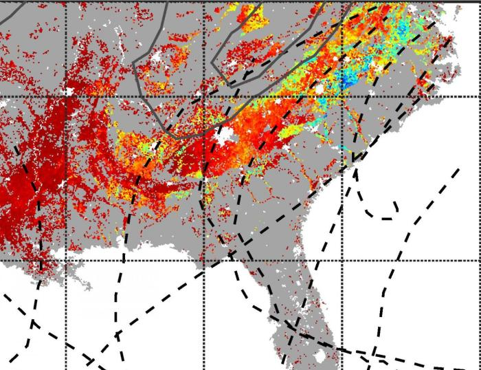 This map shows the total increase of photosynthesis and carbon uptake by forests caused by all hurricanes in 2004. The dotted gray lines represent the paths of the individual storms. CREDIT Lauren Lowman, Duke University