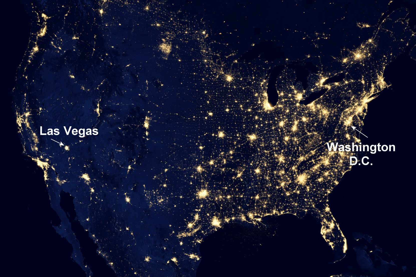 "NASA image acquired April 18 - October 23, 2012 This image of the United States of America at night is a composite assembled from data acquired by the Suomi NPP satellite in April and October 2012. The image was made possible by the new satellite's ""day-night band"" of the Visible Infrared Imaging Radiometer Suite (VIIRS), which detects light in a range of wavelengths from green to near-infrared and uses filtering techniques to observe dim signals such as city lights, gas flares, auroras, wildfires, and reflected moonlight. ""Nighttime light is the most interesting data that I've had a chance to work with,"" says Chris Elvidge, who leads the Earth Observation Group at NOAA's National Geophysical Data Center. ""I'm always amazed at what city light images show us about human activity."" His research group has been approached by scientists seeking to model the distribution of carbon dioxide emissions from fossil fuels and to monitor the activity of commercial fishing fleets. Biologists have examined how urban growth has fragmented animal habitat. Elvidge even learned once of a study of dictatorships in various parts of the world and how nighttime lights had a tendency to expand in the dictator's hometown or province. Named for satellite meteorology pioneer Verner Suomi, NPP flies over any given point on Earth's surface twice each day at roughly 1:30 a.m. and p.m. The polar-orbiting satellite flies 824 kilometers (512 miles) above the surface, sending its data once per orbit to a ground station in Svalbard, Norway, and continuously to local direct broadcast users distributed around the world. Suomi NPP is managed by NASA with operational support from NOAA and its Joint Polar Satellite System, which manages the satellite's ground system. NASA Earth Observatory image by Robert Simmon, using Suomi NPP VIIRS data provided courtesy of Chris Elvidge (NOAA National Geophysical Data Center). Suomi NPP is the result of a partnership between NASA, NOAA, and the Department of Defense. Caption by Mike Carlowicz. Instrument: Suomi NPP - VIIRS Credit: NASA Earth Observatory Click here to view all of the  Earth at Night 2012 images  Click here to  read more  about this image   NASA image use policy. NASA Goddard Space Flight Center enables NASA's mission through four scientific endeavors: Earth Science, Heliophysics, Solar System Exploration, and Astrophysics. Goddard plays a leading role in NASA's accomplishments by contributing compelling scientific knowledge to advance the Agency's mission. Follow us on Twitter Like us on Facebook Find us on Instagram"