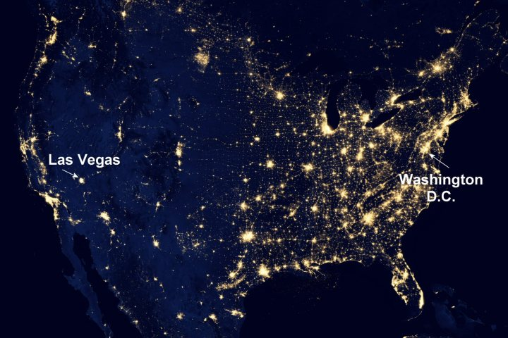 """NASA image acquired April 18 - October 23, 2012 This image of the United States of America at night is a composite assembled from data acquired by the Suomi NPP satellite in April and October 2012. The image was made possible by the new satellite's """"day-night band"""" of the Visible Infrared Imaging Radiometer Suite (VIIRS), which detects light in a range of wavelengths from green to near-infrared and uses filtering techniques to observe dim signals such as city lights, gas flares, auroras, wildfires, and reflected moonlight. """"Nighttime light is the most interesting data that I've had a chance to work with,"""" says Chris Elvidge, who leads the Earth Observation Group at NOAA's National Geophysical Data Center. """"I'm always amazed at what city light images show us about human activity."""" His research group has been approached by scientists seeking to model the distribution of carbon dioxide emissions from fossil fuels and to monitor the activity of commercial fishing fleets. Biologists have examined how urban growth has fragmented animal habitat. Elvidge even learned once of a study of dictatorships in various parts of the world and how nighttime lights had a tendency to expand in the dictator's hometown or province. Named for satellite meteorology pioneer Verner Suomi, NPP flies over any given point on Earth's surface twice each day at roughly 1:30 a.m. and p.m. The polar-orbiting satellite flies 824 kilometers (512 miles) above the surface, sending its data once per orbit to a ground station in Svalbard, Norway, and continuously to local direct broadcast users distributed around the world. Suomi NPP is managed by NASA with operational support from NOAA and its Joint Polar Satellite System, which manages the satellite's ground system. NASA Earth Observatory image by Robert Simmon, using Suomi NPP VIIRS data provided courtesy of Chris Elvidge (NOAA National Geophysical Data Center). Suomi NPP is the result of a partnership between NASA, NOAA, and the Department of Defense. """