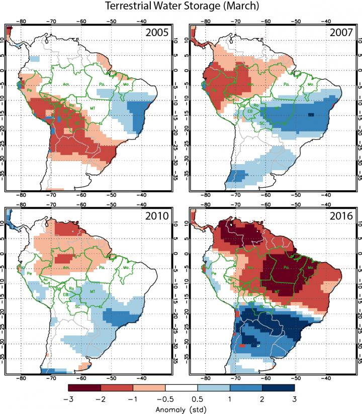 An analysis of data from the Gravity Recovery and Climate Experiment (GRACE) satellite mission shows greater soil water deficits in 2016 than previous drought years with high Amazon fire activity. CREDIT Yang Chen, University of California, Irvine