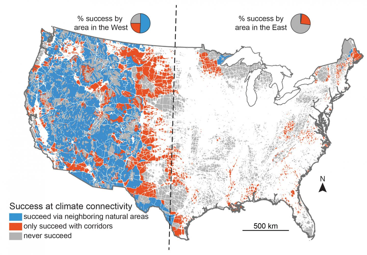 Map shows the regions of the United States from which plants and animals will be able to escape predicted climate change. Blue areas are where they will be able to succeed given current conditions, orange areas are where they will be able to succeed only if they are able to cross over human disturbed areas, and gray areas are areas where they cannot succeed by following climate gradients. Credit: Jenny McGuire, Georgia Tech