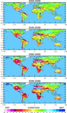 Future drought. These four maps illustrate the potential for future drought worldwide over the decades indicated, based on current projections of future greenhouse gas emissions. These maps are not intended as forecasts, since the actual course of projected greenhouse gas emissions as well as natural climate variations could alter the drought patterns.  The maps use a common measure, the Palmer Drought Severity Index, which assigns positive numbers when conditions are unusually wet for a particular region, and negative numbers when conditions are unusually dry. A reading of -4 or below is considered extreme drought. Regions that are blue or green will likely be at lower risk of drought, while those in the red and purple spectrum could face more unusually extreme drought conditions. Update: The above maps were uploaded to this article in June 2012. (Courtesy Wiley Interdisciplinary Reviews.