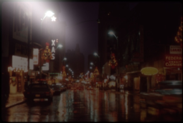 STREET SCENE, NIGHT OF THANKSGIVING DAY 1972, Digitally modified to show night glare.