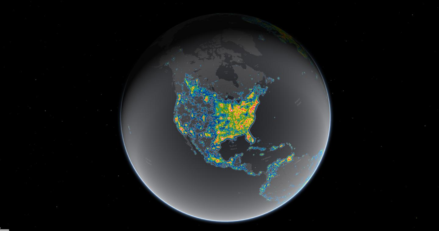Light pollution now blots out the Milky Way for eight in 10 Americans. Bright areas in this map show where the sky glow from artificial lighting blots out the stars and constellations. An international team of researchers has released the new World Atlas of Artificial Sky Brightness, in a paper published in Science Advances today. CREDIT Falchi et al, Science Advances; Jakob Grothe/National Park Service, Matthew Price/CIRES/CU-Boulder.