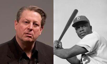 Jackie Robinson (Public Domain Image), and Al Gore