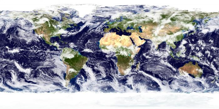 Global cloud patterns are shown. CREDIT Image: NASA Goddard Space Flight Center