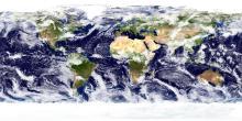 Global cloud patterns are shown. CREDIT Image: NASA Goddard Space Flight Center