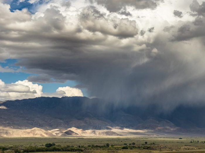 Rain over California's Owen's Valley in early May 2016. The 2015–2016 El Niño, which officially ended in late May, was one of the strongest El Niños on record. Although predicted to bring heavy rainfall to California, new research shows El Niño's rains were not enough to ease California's ongoing drought. Credit: Dustin Blakey, CC BY-NC 2.0